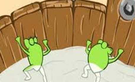 Frogs In bucket of milk